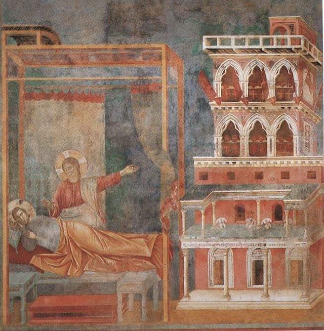 Giotto - Legend of St Francis - -03- - Dream of the Palace - Saint Francis cycle in the Upper Church of San Francesco at Assisi - Wikimedia Commons