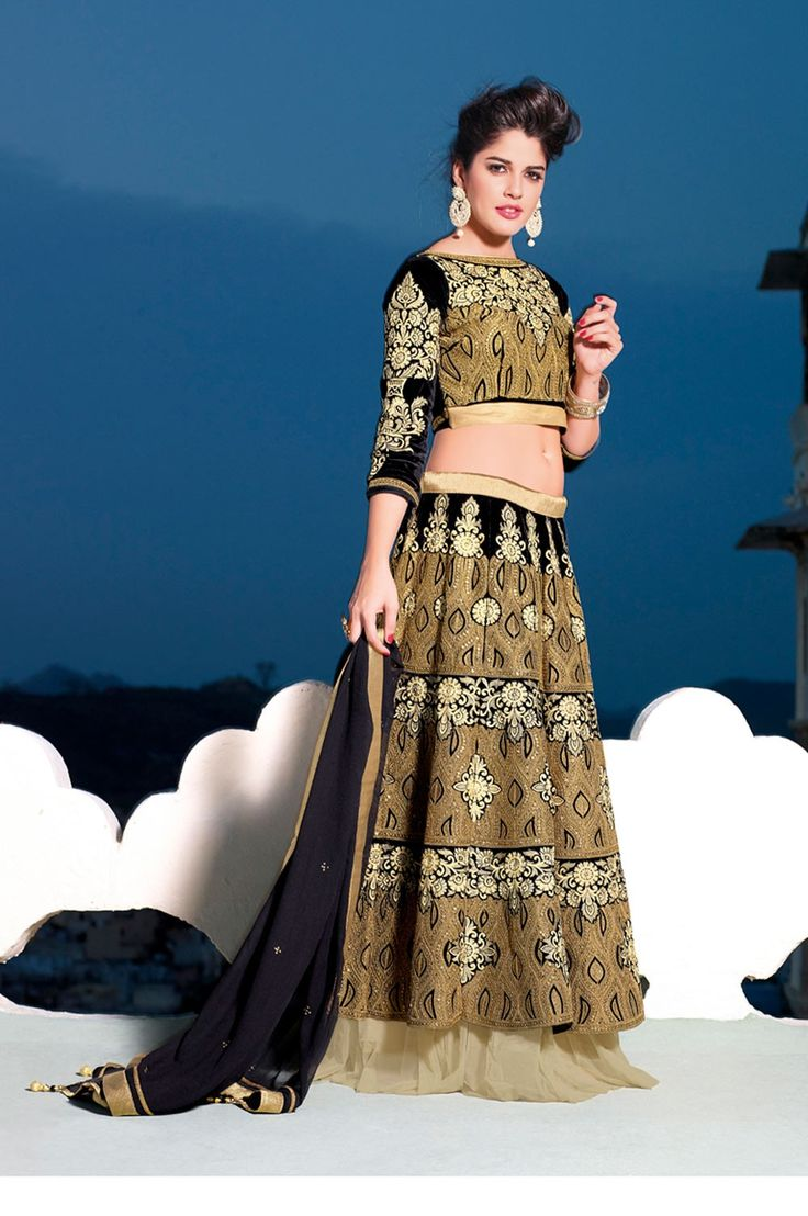 Beige & Black designer Indian wedding ghagra choli in velvet E15589