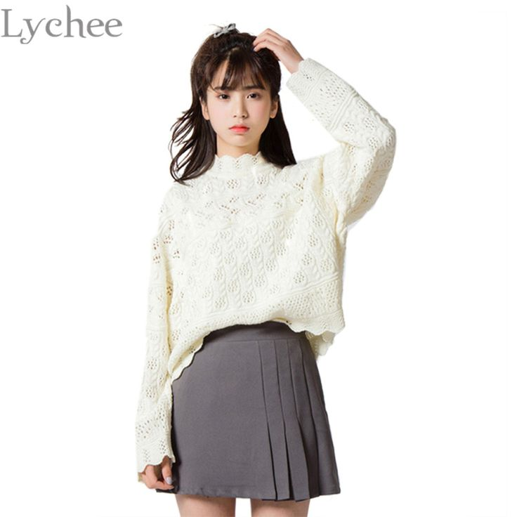 Lychee Spring Autumn Japanese Sexy Women Sweater Turtleneck Openwork Knitted Long Sleeve Pullover