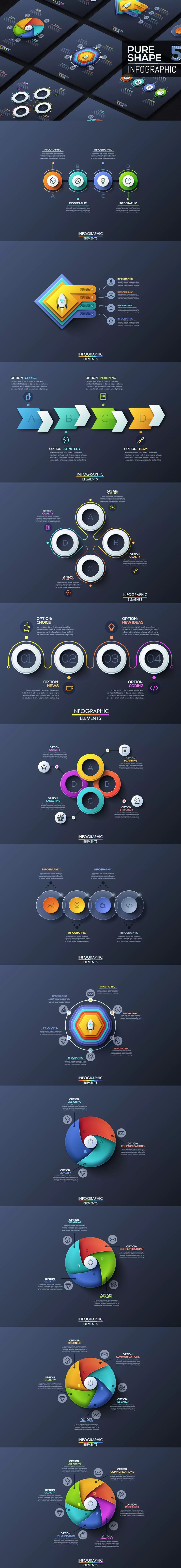 Pure Shape Infographics. Part 5 AI, EPS, PSD