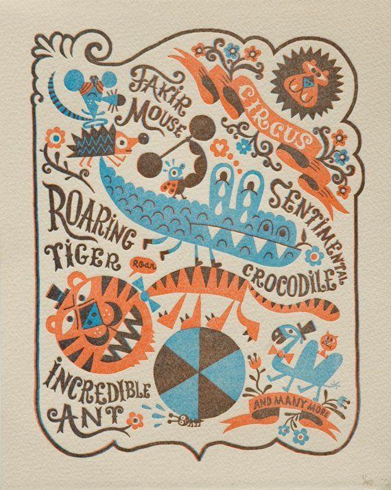 Chamo - circus, tiger, crocodile, letterpress