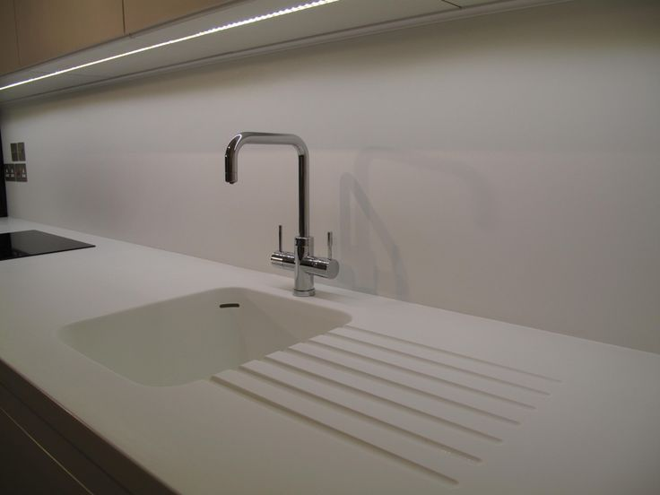 Corian Sink And Led Lighting Strip With Full Height Corian Backsplash Recent Projects Pinterest