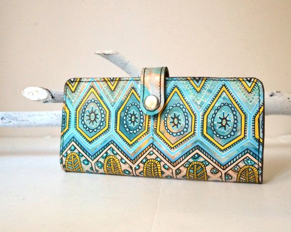 Hand Painted Leather Wallet iPhone Wallet by BarbaLeatherStudio