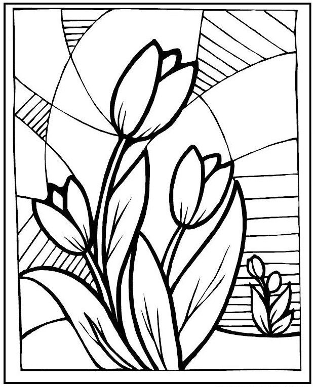 Stained Glass Flowers Tulip Coloring Picture Flower Coloring Pages
