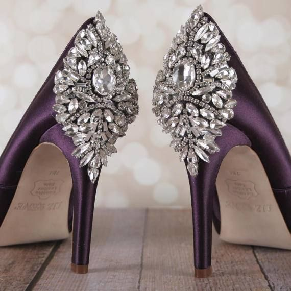 Wedding Shoes Bridal Heels Crystal Shoes Purple Wedding