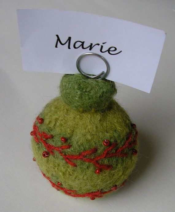 woolly holiday ornaments - place card holder