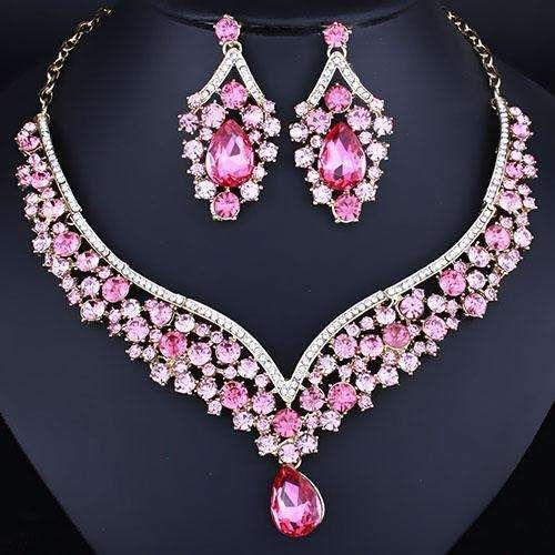 Crystal Rhinestones Water Drop Necklace Set Earrings Set for Women. Fashion Bridal on sale