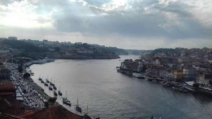 #Porto #Gaia #Portugal #travel #river #Douro #sky #bridge #cluds #blue #boats
