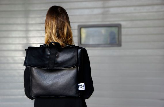 Backpack- black backpack- eco friendly leather- small backpack- handmade backpack- for men or women