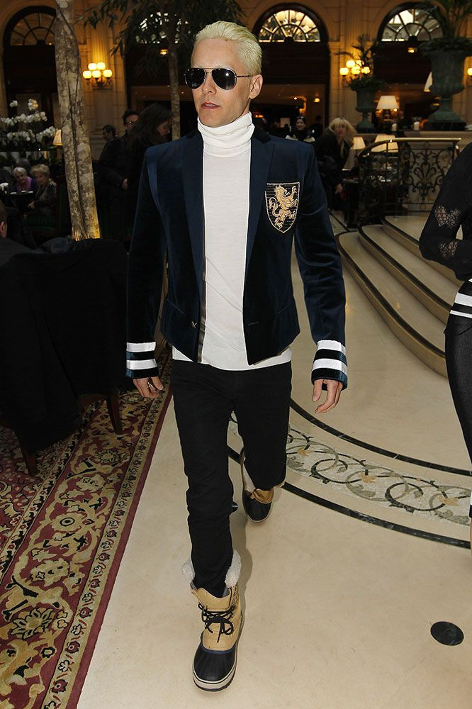 Jared Leto Goes Platinum Blonde @Balmain fashion show in Paris (drastic change for the upcoming Joker role)