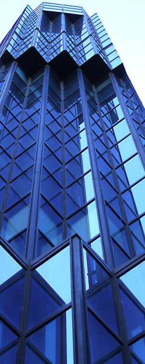 Geometric Print - Geometric blue building.