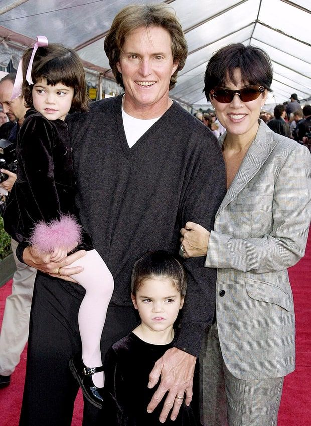 December 2000 - Bruce Jenner (Caitlyn Jenner today), with then wife Kris Jenner & young daughters Kendall & Kylie Jenner.