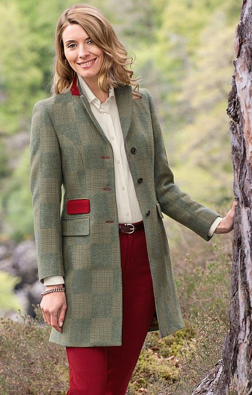 Cheltenham Pure Wool Jacket In Green Patchwork 163 225 From