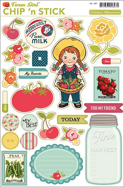 October Afternoon - Farm Girl Collection - Chip 'n Stick Chipboard Stickers,$5.49
