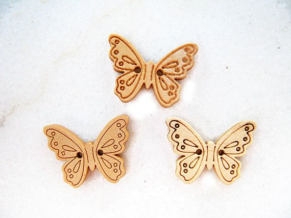 Cute Butterfly Wooden Buttons Children Buttons Sewing by nezoshop, $2.90