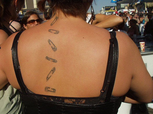 Safety Pin Tattoos On Upperback