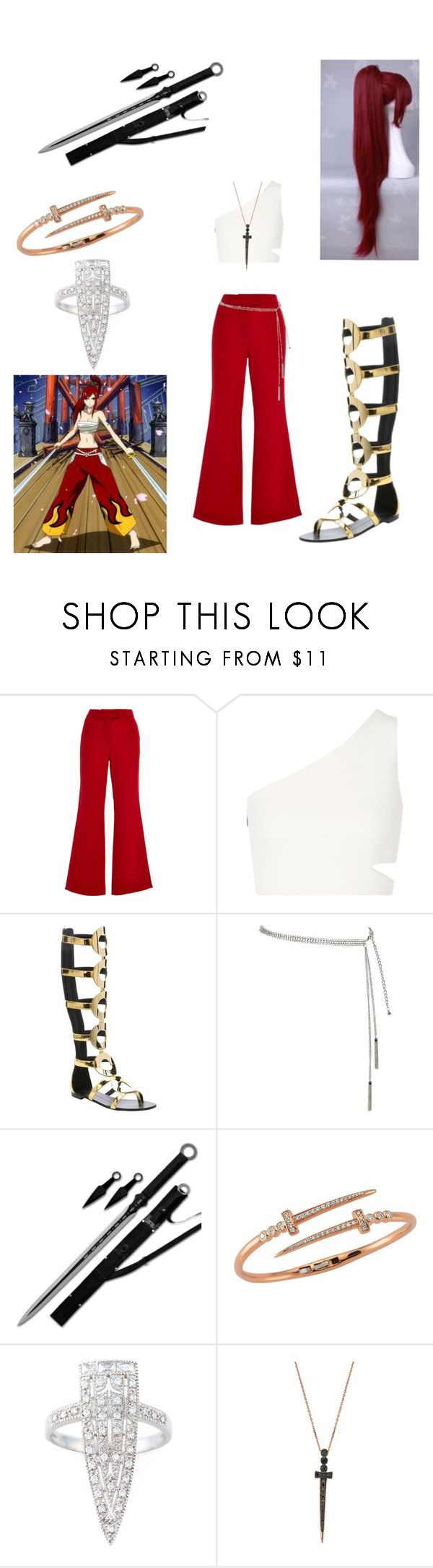 """""""Erza Scarlet Beast Mode!"""" by dragonladydoctor ❤ liked on Polyvore featuring Osman, Elizabeth and James, Giuseppe Zanotti, Bee Goddess and V Jewellery"""