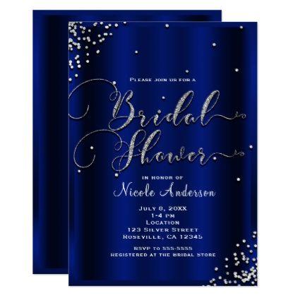 Bridal Shower Modern Silver Shine Glam Confetti Card - minimal gifts style template diy unique personalize design