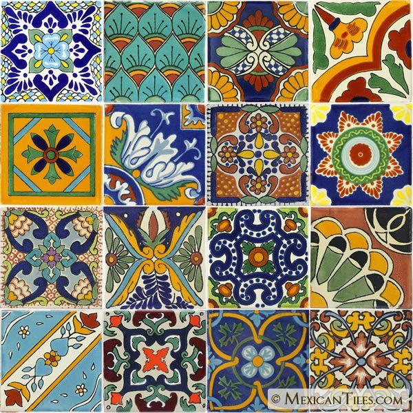 """Mexican Tile   - Set of 16 4¼"""" x 4¼"""" Mexican Talavera Tiles"""