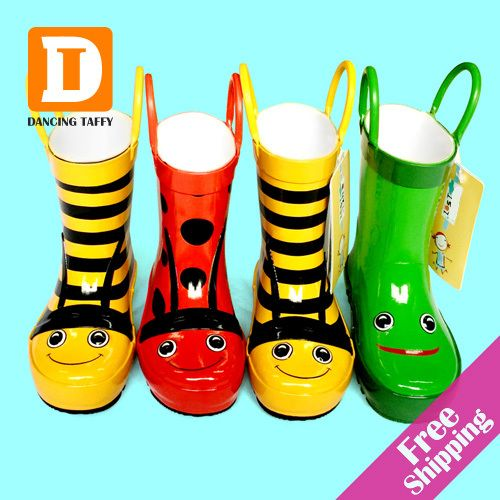 ==> [Free Shipping] Buy Best Cartoon Children Rain Boots New 2017 Kids Rubber Boots Bee / Frog / Beatles Girls Shoes Flat Rainboots Bota Baby Kids Shoes Online with LOWEST Price | 32362977796