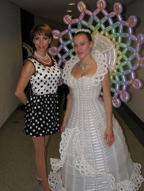 Crazy Wedding Dress made of balloons.