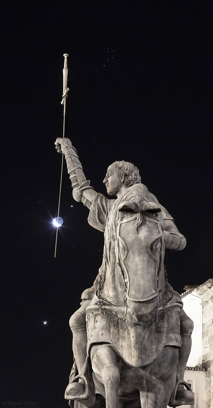 Lancing the Moon - photo by Miguel Claro, Portel, Portugal - via Lunar photo of the day 19.07.2012 | In the image we can see the sword of Dom Nuno Álvares Pereira, bypassing the Moon. He was a Portuguese general of great success who had a decisive role in the 1383-1385 crisis that assured Portugal's independence from Castile. He later became a mystic, was beatified by Pope Benedict XV in 1918 and was canonised by Pope Benedict XVI in 2009. For this reason, his sword is turned down...