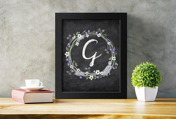 Printable Letter G Art Wedding Decor.  Add a shabby chic touch to any decor with this chalkboard initial G.  Just download, print, and hand! #weddingdecor #monogram #wallart
