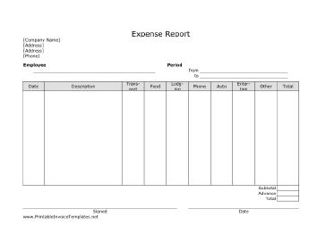 This printable expense report has spaces in which an employee or contract worker can note business-related spending on transportation, food, lodging, and other things. It is designed in landscape orientation and does not have lines. It is available in PDF, DOC, or XLS (spreadsheet) format. Free to download and print