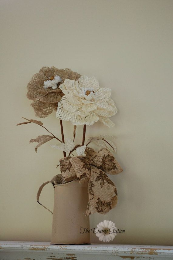 Rustic Pitcher with Burlap Flowers by thedaisystation on Etsy