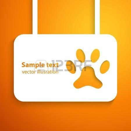 Applique perro pista cuadro icono. ilustración para el diseño animal feliz. La pata cortada de papel blanco. Aislado sobre fondo naranja. Foto de archivo - 44069431