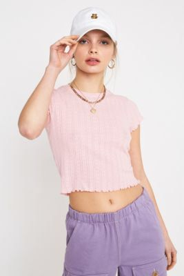6e23e9e4c9 Check out UO Pink Heart Pointelle T-Shirt from Urban Outfitters