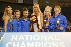 Rhonda Faehn (center) with Florida's 2015 senior class. She is leaving UF to become Senior VP of USA Gymnastics.