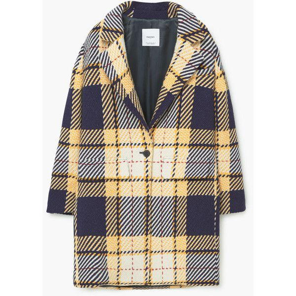 MANGO Check Wool-Blend Coat (€180) via Polyvore featuring outerwear, coats, checkered coat, mango coat, fur-lined coats, wool-blend coat and long sleeve coat