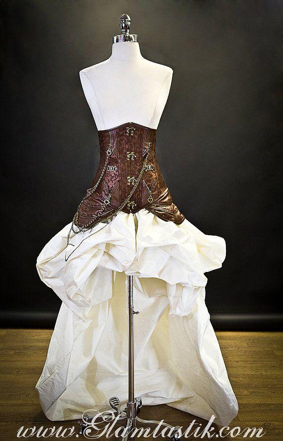 Questo elenco non è un pronto a spedire vestito. Dobbiamo farlo per voi. Abbiamo bisogno di 4-6 settimane per farlo. :) Questo elenco non comprende il reggiseno. Si può certamente trovare un reggiseno simile al vostro negozio locale di dipartimento. Si può indossare anche questo con un canotta avorio o una camicetta corrispondente.    Questo corsetto è costituito da un super pesante broccato di fantasia. Il corsetto ha un assetto di finta pelle che è lungo il bordo superiore e inferiore del…
