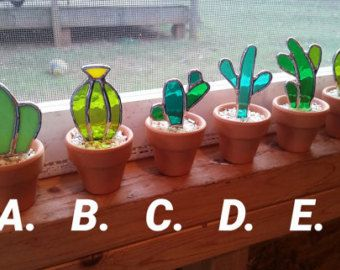 Set of 6 Stained glass cactus! Great gift for the plant or succulent lover! Save when you buy the se