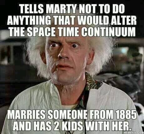 Back To The Future. Now look what you did Doc! I wonder if Marty noticed that.  I always believed the movie would've been better if Marty did the same thing with Jennifer or whatever, you know, find a girl from another part of the timeline and hook up.