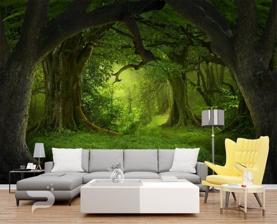 Mystical Forest Wall Mural Magical Forest Wallpaper Large Wall Mural Self Adhesive Peel Stick Photo Mural Green Forest Wall Covering Forest Wall Mural Large Wall Murals Forest Wallpaper