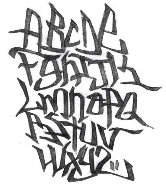 Graffiti letters http://delmoswade.files.wordpress.com/2009/12/alphabet-graffiti.jpg