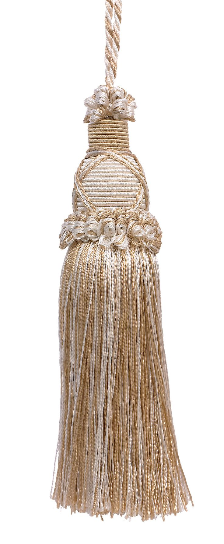 Decorative 5.5 Inch Key Tassel, Ivory, Light Beige Imperial II Collection Style# KTIC Color: WHITE SANDS - 4001