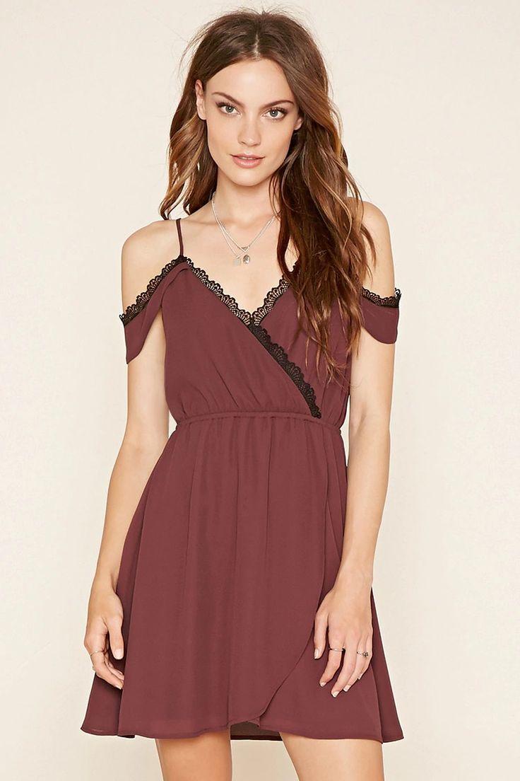 - Forever 21 Contemporary A woven dress featuring open shoulders, crochet trim, a V-neckline, a slight A-line silhouette, and an elasticized waist. #f21contemporary