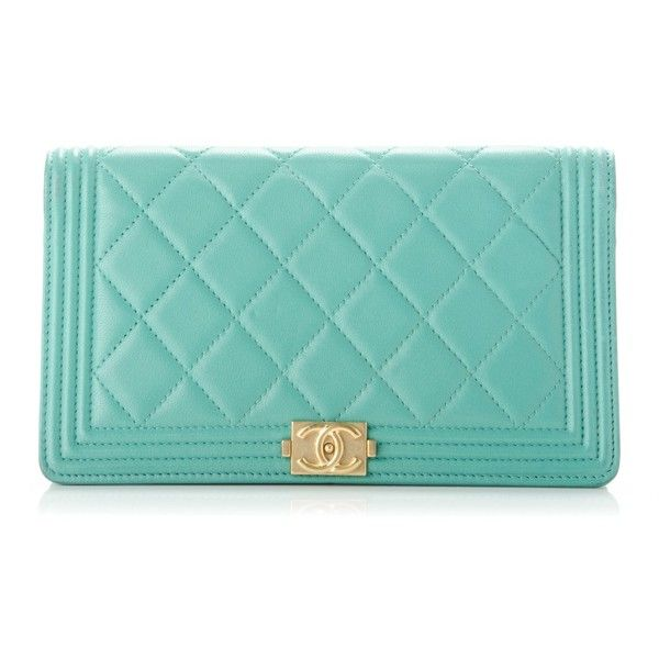 CHANEL Lambskin Quilted Boy Yen Wallet Light Green ❤ liked on Polyvore featuring bags, wallets, lambskin bag, blue bag, chanel, stitch bag and credit card holder wallet