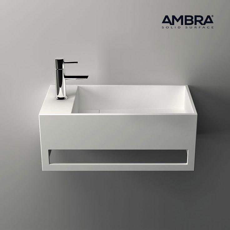 Lave-mains suspendu, vasque rectangle en Solid surface - Mona G