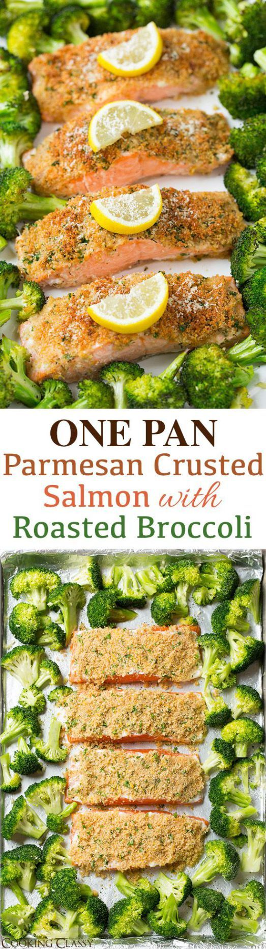 Single Sheet Pan Parmesan Crusted Salmon with Roasted Broccoli Recipe via Cooking Classy - everything is roasted together on one pan so clean up is a breeze! It's healthy and it tastes incredible!