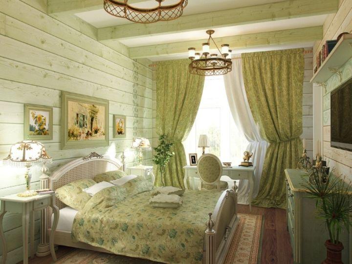 Зеленая спальня в стиле прованс