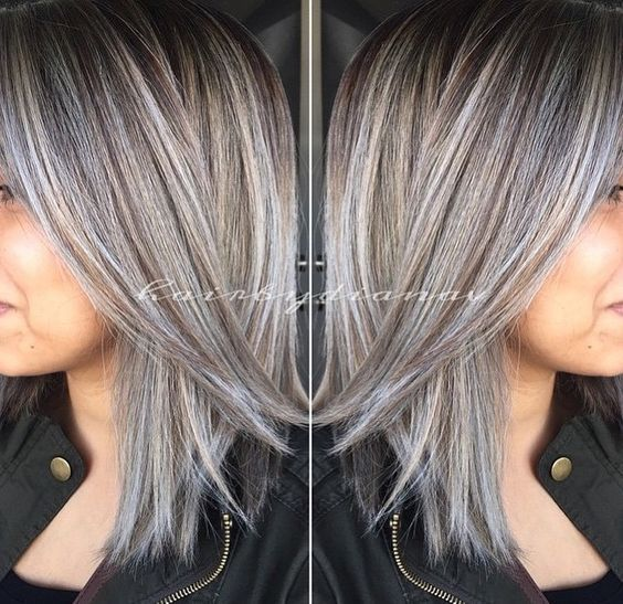 amazing grey silver highlights