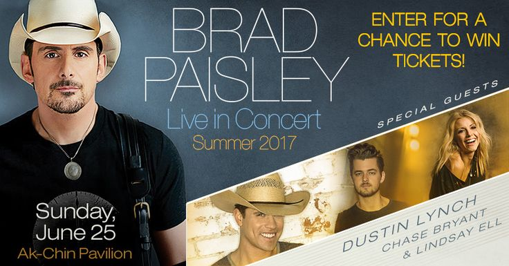 I just entered for a chance to win the Brad Paisley at Ak-Chin Pavilion Ticket Giveaway