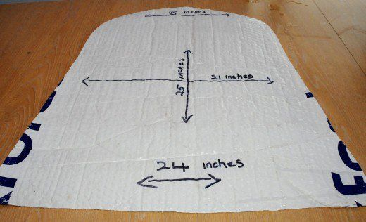 Cut the template from bubble wrap or floor underlay.