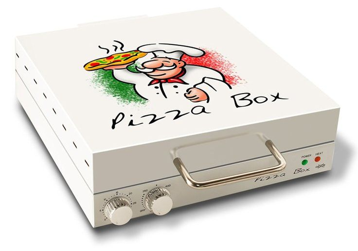 A pizza oven designed to look like a pizza box. This compact, square oven cooks fresh pizza, frozen pizza, and can reheat cold pizza. For a person or family that eats a lot of pizza, this little device makes the cooking process easy and quick.