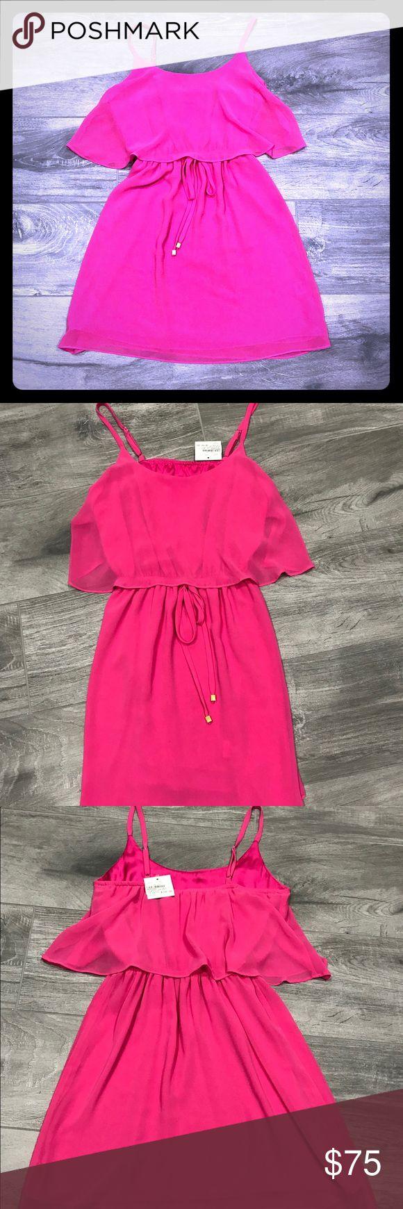 NWT kaya di koko coral pink sundress XS NWT Coral pink tank dress with drawstring cinch waist. Has a liner  100% polyester  Adjustable straps  Great for summer or vacation !! kaya di koko Dresses Mini