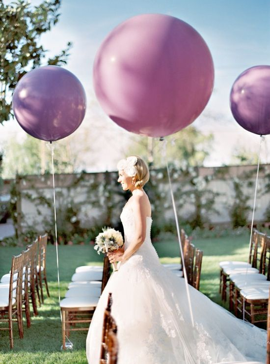 round wedding balloon ideas...this would be super cute but someone would have to pick them up saturday morning